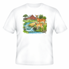 country decorative t-shirt farm scene barn creek deer doe wildlife