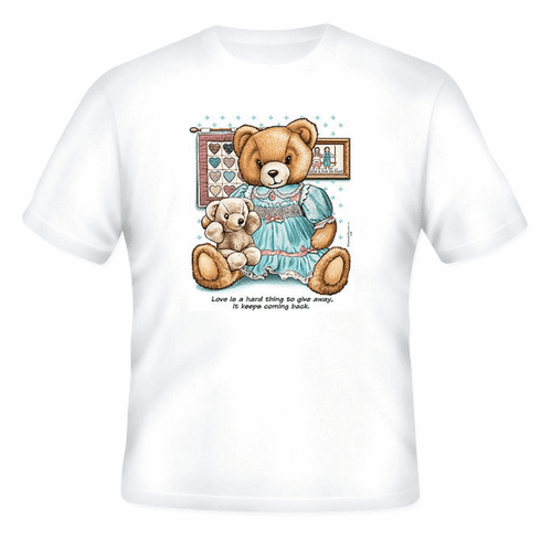 country decorative t-shirt teddy bear love hard to give away keeps coming back