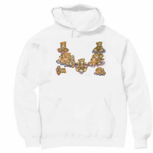 Country Decorative teddy bear necklace pullover hoodie hooded sweatshirt