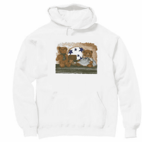 Country Decorative teddy bear patriotic pullover hoodie hooded sweatshirt