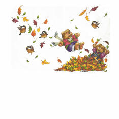 Country Decorative teddy bear pile of fall leaves tshirt shirt