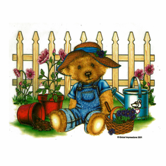 Country Decorative teddy bear potted plants picket fence tshirt shirt