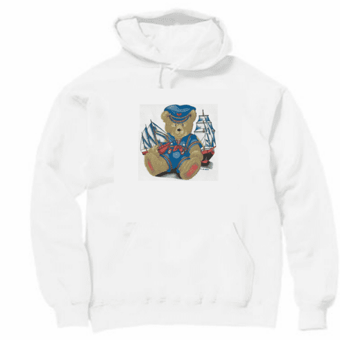 Country Decorative teddy bear sailor pullover hoodie hooded sweatshirt