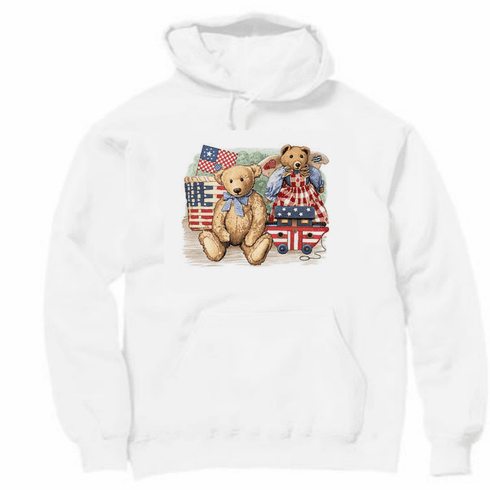 Country Decorative teddy bears Americana pullover hoodie hooded sweatshirt