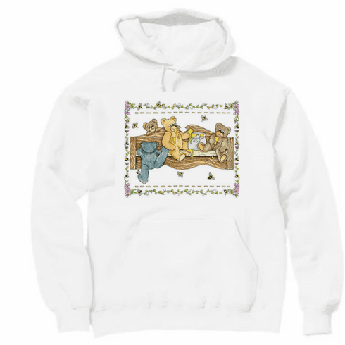 Country Decorative  teddy bears bumble bees honey pot wooden bench pullover hoodie hooded sweatshirt