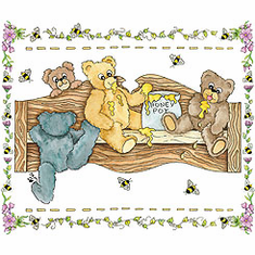 Country Decorative  teddy bears bumble bees honey pot wooden bench tshirt shirt