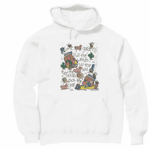 Country Decorative Time in the garden rag doll pullover hoodie hooded sweatshirt
