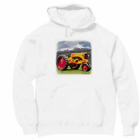 Country Decorative tractor mountain scene pullover hoodie hooded sweatshirt