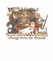 Country Decorative tshirt shirt teddy bears rabbits kitty cats dolls Always room for friends