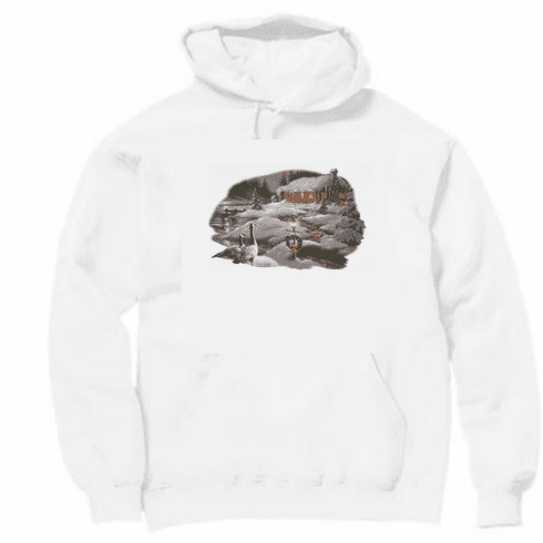 Country Decorative winter cabin ducks pullover hoodie hooded sweatshirt