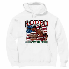 Country Western hoodie hooded sweatshirt RODEO ridin' with pride