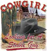 Country Western shirt: Cowgirl looking for a stable guy