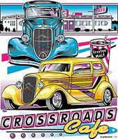 Crossroads Cafe antique 50's car shirt