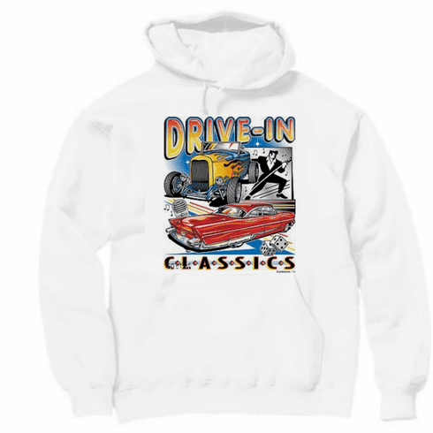 Drive in classics 50's antique car hoodie hooded sweatshirt