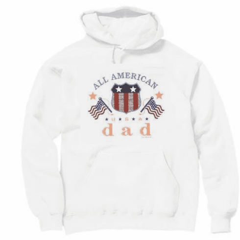 Family Dad Daddy Father  All American USA Americana flag pullover hoodie hooded sweatshirt