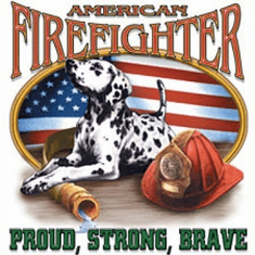 Firefighter Fire Fighter Fireman American Proud strong brave dalmatian puppy dog doggy shirt sayings