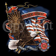 firefighter fireman shirt:  AMERICA'S FINEST eagle flag USA American patriotic