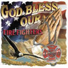 Firefighter fireman shirt:  God Bless our Firefighters praying hands
