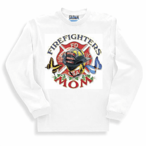 firefighter fireman Sweatshirt or long sleeve T-shirt: FIREFIGHTERS MOM