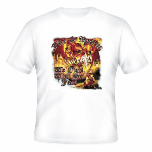 firefighter t-shirt:  Fire and rescue.  We fight what you fear.