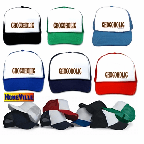 funny ball cap hat chocolate CHOCOHOLIC