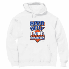 funny novelty pullover hooded hoodie sweatshirt Beer belly under construction