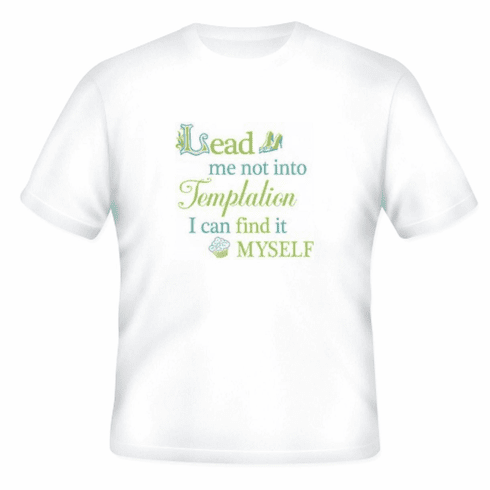 funny novelty shirt lead me not into temptation I can find it myself t-shirt