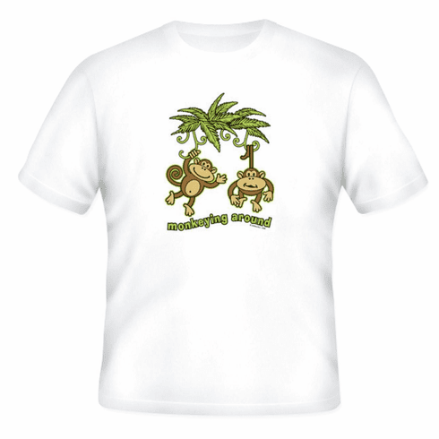 funny novelty t-shirt MONKEYING AROUND monkey
