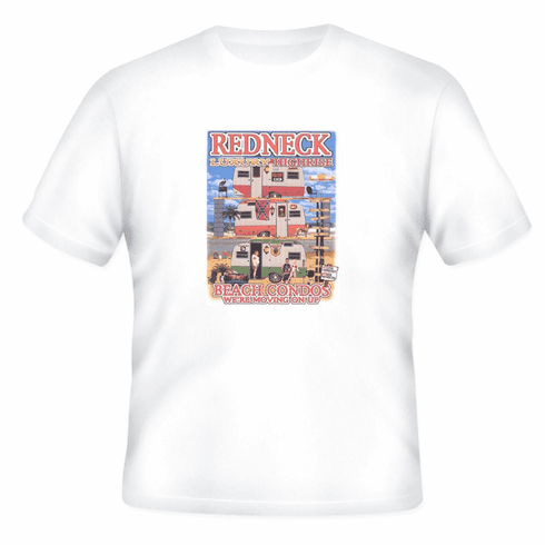 funny novelty t-shirt Redneck luxary highrise beach condos trailer moving up