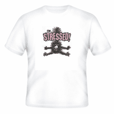 funny novelty T-shirt STRESSED cat Stress