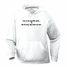 Funny one-liner t-shirt sayings hoodie hooded sweatshirt I live in my own little world but it's okay they know me here