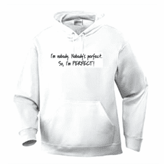 Funny one-liner t-shirt sayings hoodie hooded sweatshirt I'm nobody Nobody's perfect so I'm perfect