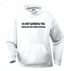 Funny one-liner t-shirt sayings hoodie hooded sweatshirt I'm not ignoring you your're just not worth noticing