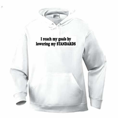 Funny one-liner t-shirt sayings hoodie hooded sweatshirt I reach my goals by lowering my standards