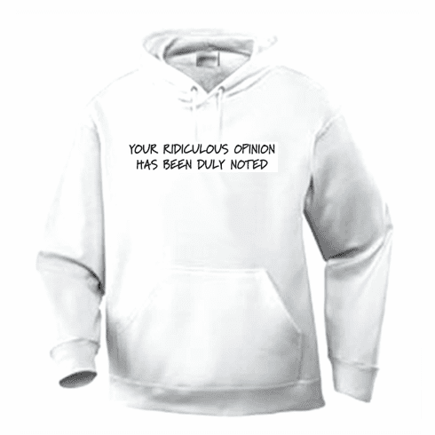 Funny one-liner t-shirt sayings hoodie hooded sweatshirt Your ridiculous opinion has been duly noted