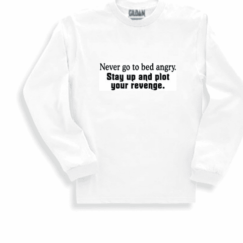 Funny one-liner t-shirt sayings long sleeved tshirt or sweatshirt Never go to bed angry Stay up and plot your revenge