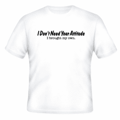 Funny one-liner t-shirt sayings shirt I don't need your attitude I brought my own