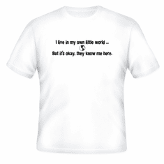 Funny one-liner t-shirt sayings shirt I live in my own little world but it's okay they know me here