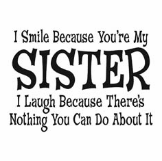 Funny one-liner t-shirt sayings shirt I smile because you're my sister I laugh because there's nothing you can do about it