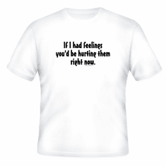 Funny one-liner t-shirt sayings shirt If I had feelings you would be hurting them right now