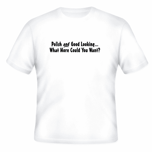 Funny one-liner t-shirt sayings shirt Polish and Good Looking What More Could You Want?