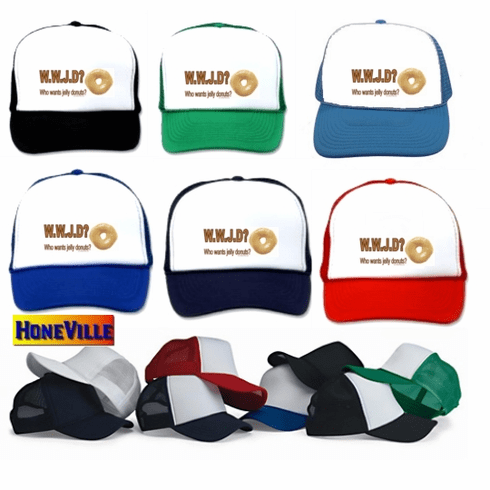 Funny parody hat ball cap WWJD Who Wants Jelly Donuts?
