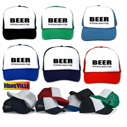 funny party drinking hat ball cap BEER proof that God loves us and wants us to be happy