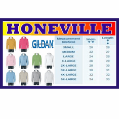 Gildan Hooded Sweatshirt size and color chart