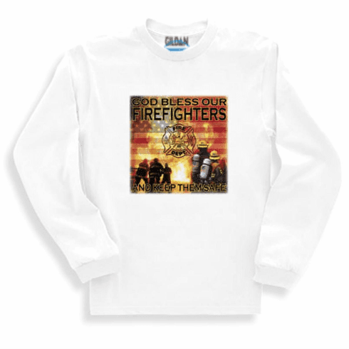 God Bless the Firefighters and keep them safe. Fireman Sweatshirt or long sleeve T-shirt