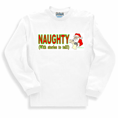 Holiday Christmas t-shirt sayings shirt long sleeved tshirt or sweatshirt Naughty with stories to tell