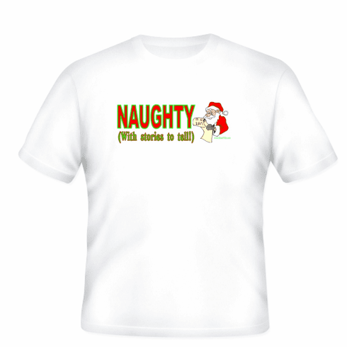 Holiday Christmas t-shirt sayings shirt tshirt Naughty with stories to tell