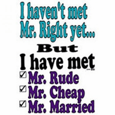 I haven't met Mr. right yet but I've met Mr. rude, cheap, married shirt