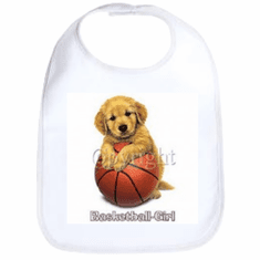 Infant baby bib Basketball girl puppy dog doggy