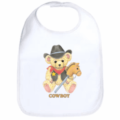Infant baby bib Cowboy teddybear horse on a stick